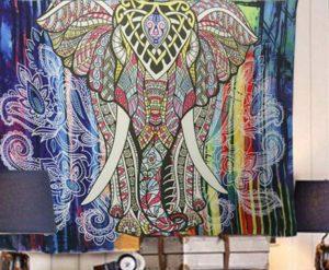 D20 07 Wanddoek Olifant Multicolor